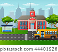 Vector illustration of Yellow school bus in front  44401926