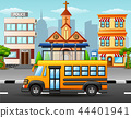 Vector illustration of School bus on city skyline  44401941