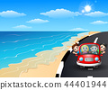 Vector illustration of Happy family riding a car i 44401944