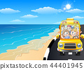 Vector illustration of Happy children riding a car 44401945