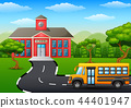 Vector illustration of Yellow school bus in front  44401947