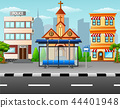 City scene with bus stop and building 44401948