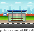 Bus stop with city skyline background 44401950