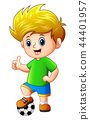 Vector illustration of Little boy with soccer ball 44401957