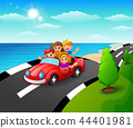 Vector illustration of Happy children riding a car 44401981