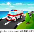 Vector illustration of Ambulance car cartoon in th 44401983