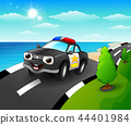 Vector illustration of Police car cartoon in the s 44401984
