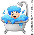 Vector illustration of Boy taking a bath with soap 44401986