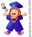 Happy graduation girl cartoon 44401996