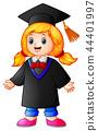 Happy graduation girl cartoon 44401997