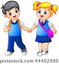 Cartoon girl and boy go to school 44402000