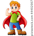 Vector illustration of Cartoon kid playing a super 44402007