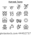 Harvest icon set in thin line style 44402737