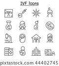 IVF, In Vitro Fertilization icon set in thin line  44402745