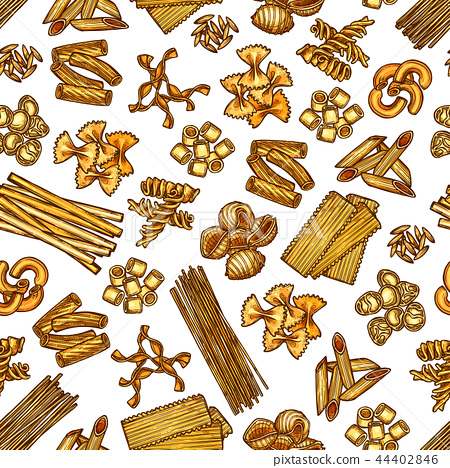 Pasta seamless pattern, vector background 44402846
