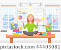 Woman Meditates on Work Place in Business Office 44403081
