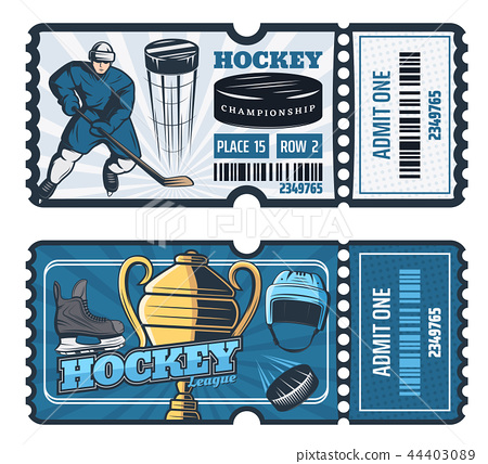 Ice hockey cup game tickets, vector 44403089