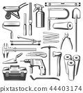 Construction and repair work tools, vector icons 44403174