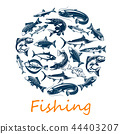Fishing poster with sea and ocean fish, vector 44403207