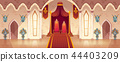 Vector throne room in medieval palace, castle hall 44403209