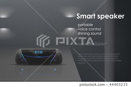 Vector mockup with wireless portable smart speaker 44403215