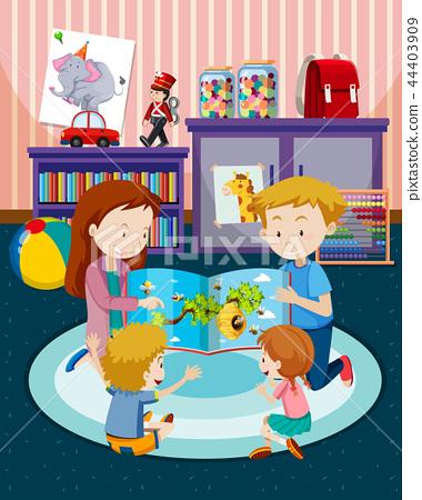 Parents reading children a book 44403909