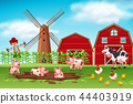 Farm scene with animals 44403919