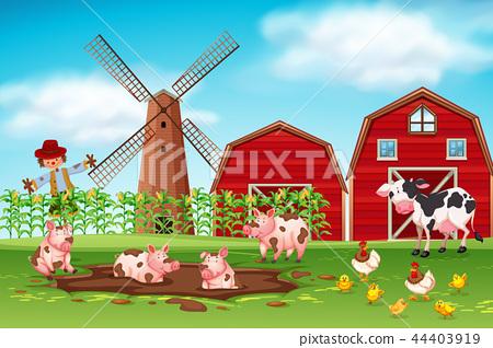 Farm scene with animals 44403919