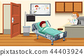 Sick child in bed at hospital 44403924
