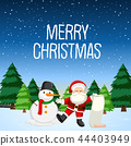 Merry christmas with santa and snowman 44403949