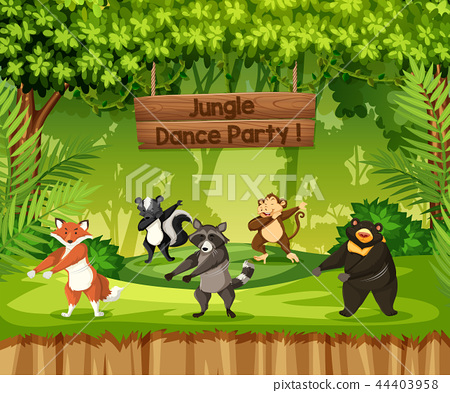 Animals perform jungle dance party 44403958