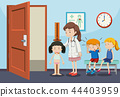 Children getting medical examinations 44403959
