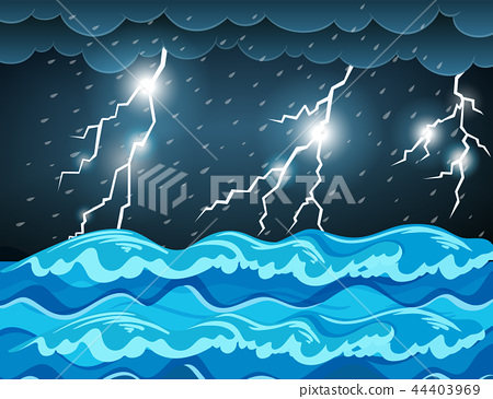 Thunderstorm at the sea 44403969