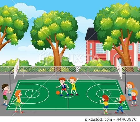 Kids playing basketball scene 44403970