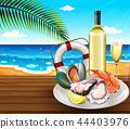 A seafood set on summer beach background 44403976