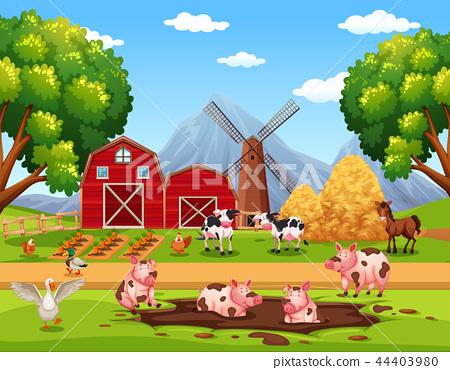 Rural happy farm animals 44403980