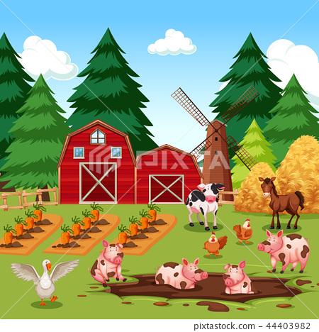 Rural happy farm animals 44403982