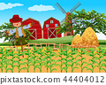 Farm scene with crops and scarecrow 44404012