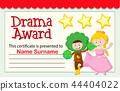 award, certificate, drama 44404022