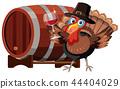 Thanksgiving turkey with wine glass 44404029