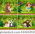 Set of children with animals scene 44404059