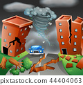 Tornado diaster town scene 44404063