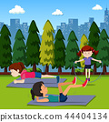 People exercise in the park 44404134