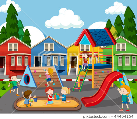 Children in colorful playground 44404154