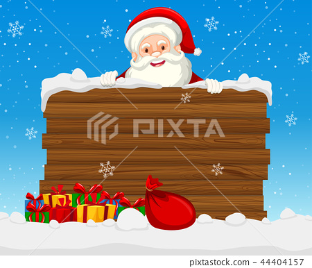 Large wooden sign with santa 44404157