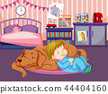 A baby sleep with dog 44404160