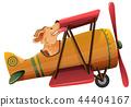 A dog riding plane on white background 44404167