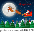Merry Christmas santa sleigh with reindeer 44404178