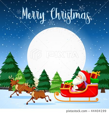 Merry Christmas santa sleigh 44404199