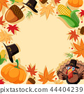 Autumn turkey border template 44404239